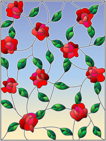 unobtrusive: Illustration in the style of stained glass with intertwined roses and leaves on a sky background