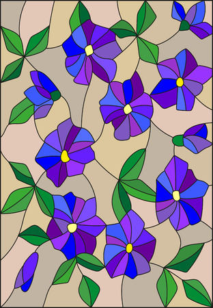 unobtrusive: Illustration in the style of stained glass with intertwined abstract purple flowers and leaves on a brown background