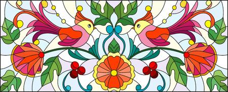 Illustration dans le style vitrail avec une paire d'oiseaux abstraites, des fleurs et des motifs sur un fond clair, l'image horizontale Banque d'images - 74228663