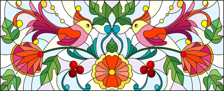 Illustration in stained glass style with a pair of abstract birds , flowers and patterns on a light background , horizontal image