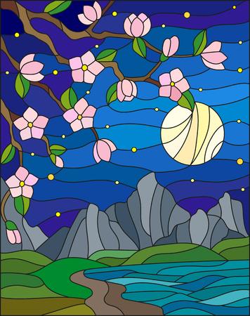 Ilustración en estilo vitral con las flores de cerezo en un fondo de montañas, cielo estrellado, la luna y el mar