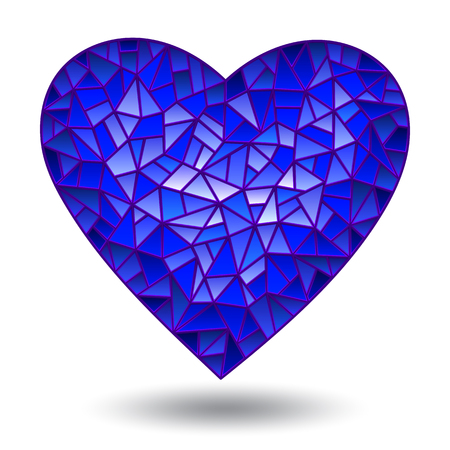 Illustration with glass blue heart, isolated on white background