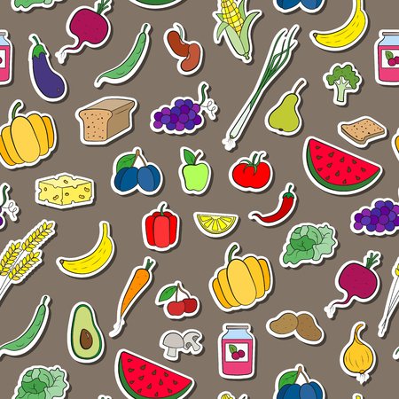 Seamless background on the topic of vegetarianism, simple icons, food signs stickers on a brown  background Иллюстрация