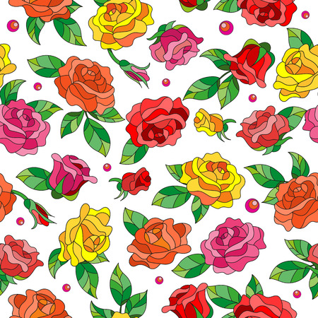 Seamless pattern with spring flowers in stained glass style, flowers, buds and leaves of  multi colored roses on a light background
