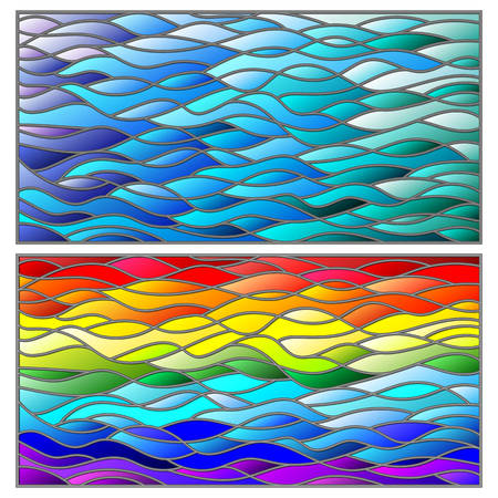 A set of background illustrations in the stained glass style, wavy rainbow and blue background