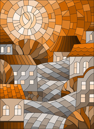 Illustration in stained glass style, urban landscape,roofs and trees against the day sky and sun,Sepia,tone brown