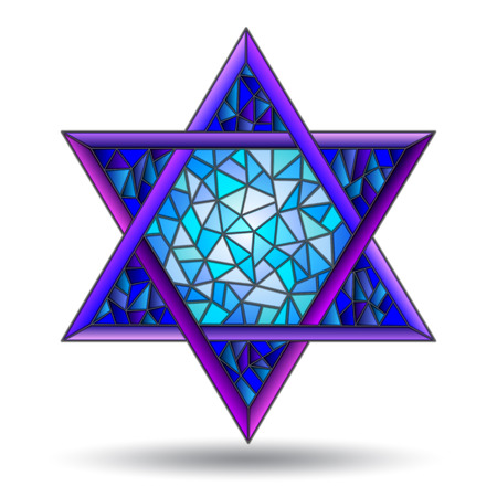 The six-pointed star in the stained glass style on white background isolate
