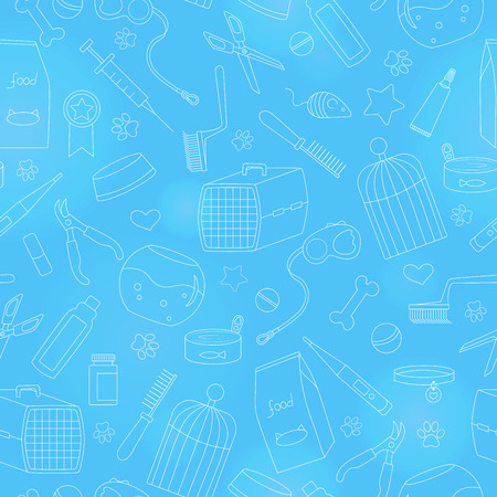 Seamless background on the topic of pet care, pet shop, simple contour icons, on a blue background is drawn with a light marker Illustration