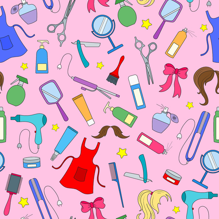 Seamless pattern on the theme of the Barber shop, tools, and accessories of Barber, colored icons on a pink background