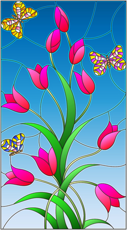 Illustration in the style of stained glass with rose buds tulips and colorful butterflies on a blue background