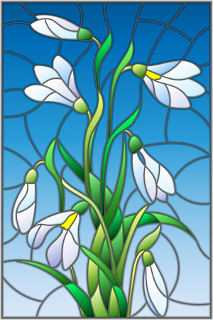 Illustration in stained glass style with bouquet of  white snowdrops  on a  blue background Illustration