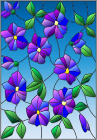 Illustrazione nello stile di vetro macchiato con fiori viola astratti intrecciati e foglie su sfondo blu Vettoriali