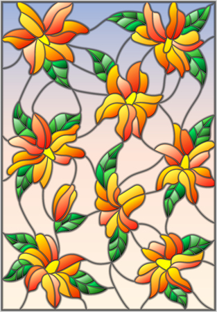 Illustration in the style of stained glass with intertwined lilies and leaves on a sky background Illustration