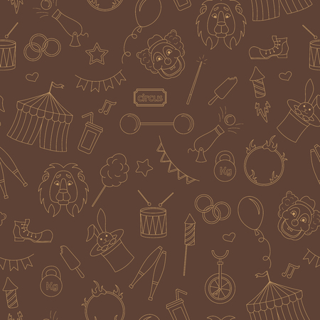 endlessly: Seamless pattern on the theme of circus, simple contour icons, ,beige contour on brown background Illustration