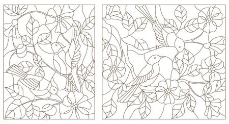 Set contour illustrations of stained glass with birds Ilustração
