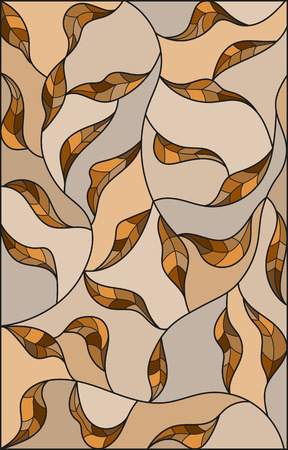 Illustration in the style of stained glass with brown leaves  on a beige  background ,monochrome Illustration