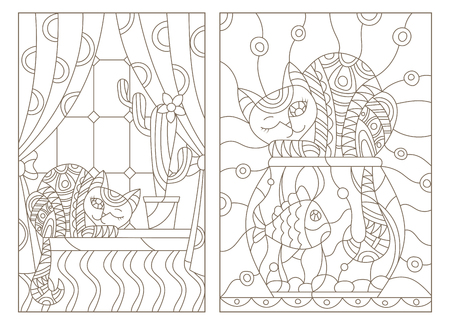 Set contour illustration in stained glass style window with curtains and a cactus and a cat on the windowsill.