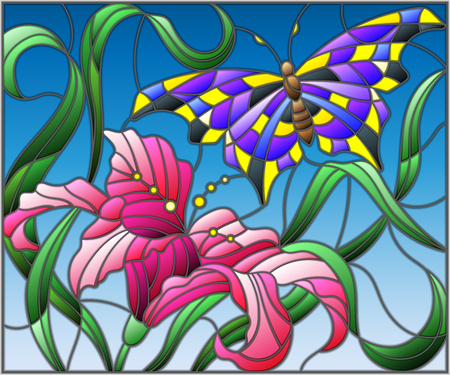 Illustration in stained glass style with bright butterfly against the sky, foliage and flower of Lily