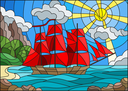 Illustration in stained glass style with sailboats against the sky, the sea and the sunrise. Illustration