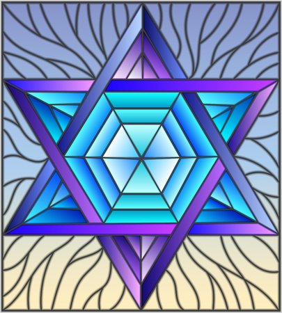 Illustration in stained glass style with an abstract six-pointed blue star on a sky background.