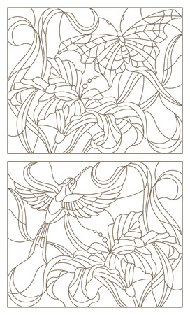 Set contour illustrations in the stained glass style butterfly and Hummingbird and Lily flower.