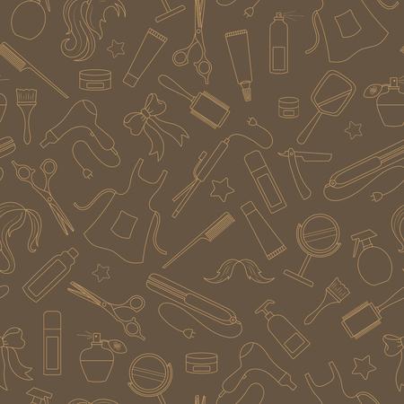 이발소의 주제에 대한 원활한 패턴, 도구 및 미용사의 액세서리, 갈색 배경에 베이지 색 등고선 스톡 콘텐츠 - 75257547