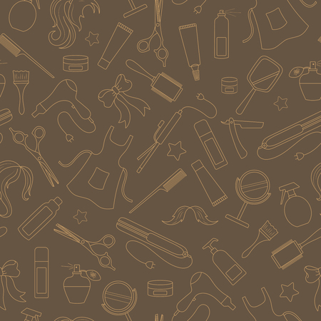 Seamless pattern on the theme of the Barber shop, the tools and accessories of the hairdresser, beige contours on brown background Illusztráció