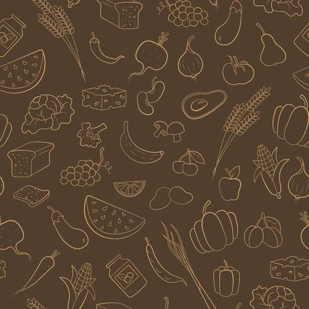 채식주의, 식료품 아이콘, 갈색 배경에 베이지 색 윤곽을 테마로 원활한 패턴 일러스트