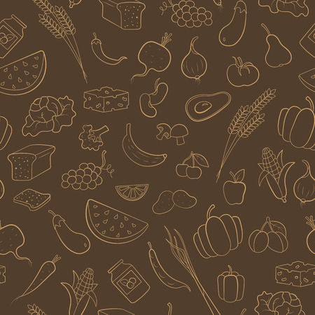Seamless pattern on the theme of vegetarianism, grocery icons, beige contours on brown background