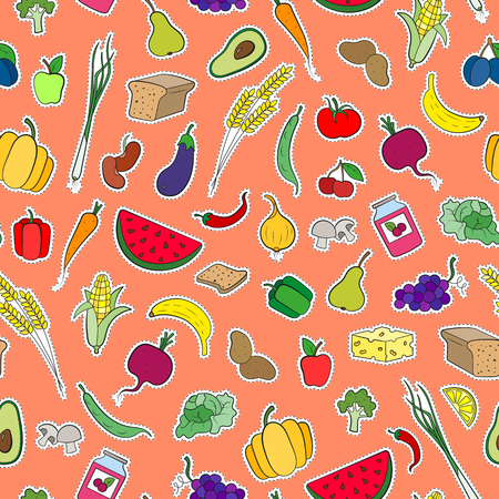 Seamless background on the topic of vegetarianism, simple icons, food signs patches on a orange  background