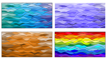 A set of background illustrations in the stained glass style, wavy rainbow ,blue , brown background Illustration