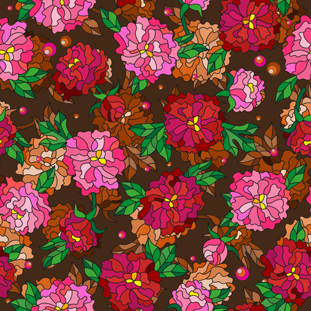 Seamless pattern with spring flowers in stained glass style, flowers, buds and leaves of  peonies on a abstract background