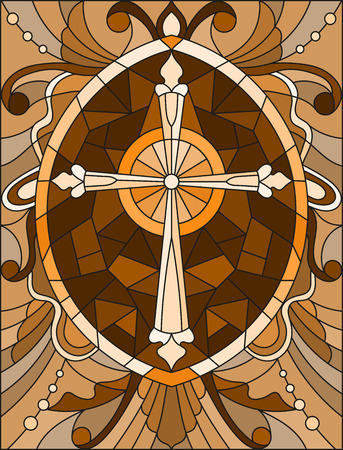 Stained glass illustration with a cross in the sky and flowers,brown tone , Sepia