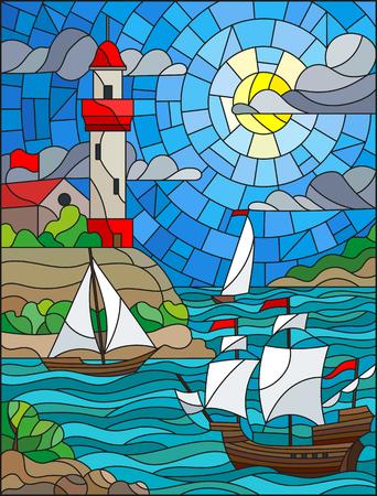 日雲空太陽と海のバック グラウンドで灯台と海の景色、3 隻の船、海岸とステンド グラス スタイルのイラスト