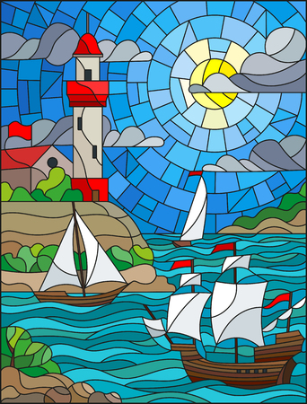 Illustration in stained glass style with sea view, three ships and a shore with a lighthouse in the background of day cloud sky sun and sea Иллюстрация