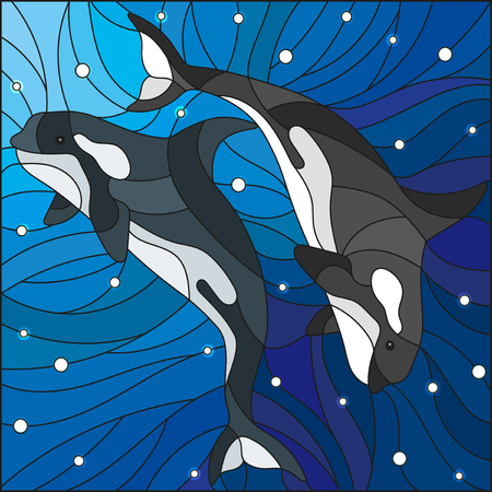 killer waves: Illustration in the style of stained glass with two whales on the background of water and air bubbles