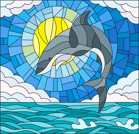 Illustration in stained glass style with a shark on the background of water ,cloud, sky and sun