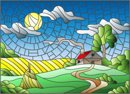 Illustration in stained glass style landscape with a lonely house amid field,sun and sky