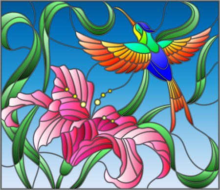 Illustration in stained glass style with bright Hummingbird against the sky, foliage and flower of Lily