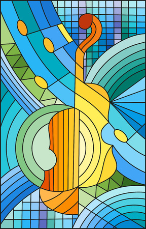 Illustration in stained glass style on the subject of music , the shape of an abstract violin on geometric background