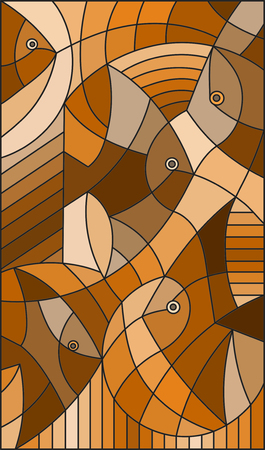 Illustration in stained glass style abstract fish,brown tone ,sepia Illustration