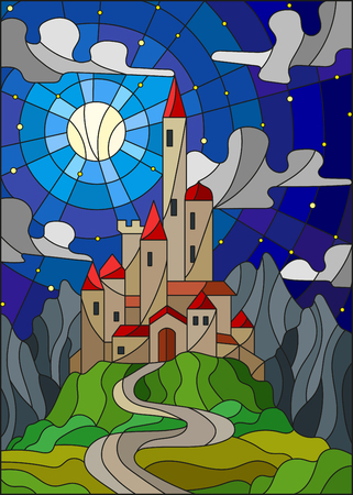 Illustration in stained glass style landscape with old castle on the background of Moon ,starry sky and mountains Illusztráció