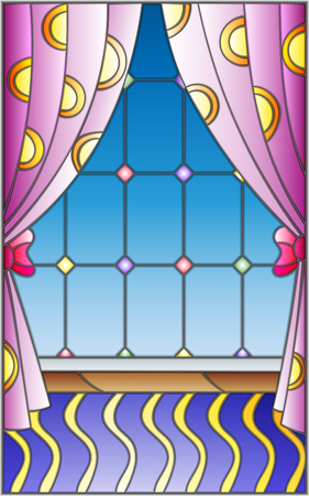 Illustration in stained glass style window with curtains