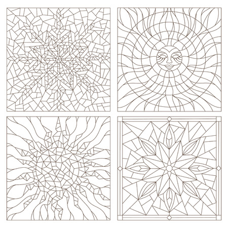 Set contour illustrations in the stained glass style , sun, flower, snowflake