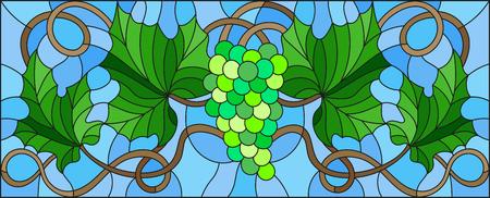 Peinture de style vitrail avec un tas de raisins verts et de feuilles. Banque d'images - 76004025