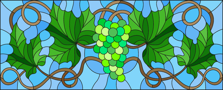 Stained glass style painting with a bunch of green grapes and leaves.