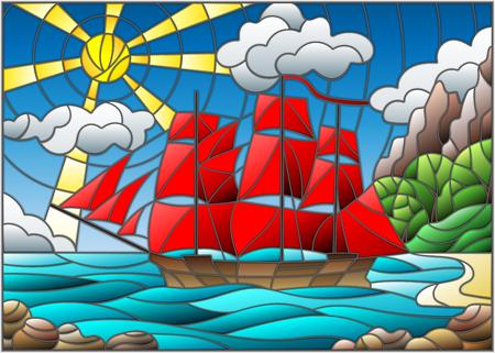 Illustrazione in stile vetrate con barche a vela con vele rosse contro il cielo, il mare e l'alba Vettoriali