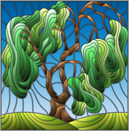 Illustration in stained glass style with green willow tree on sky background Illustration
