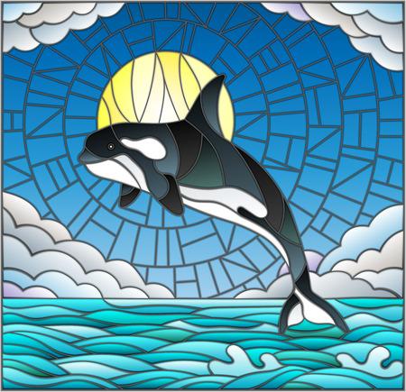 Ilustración en estilo vitral con una ballena en el fondo de agua, nubes, cielo y sol