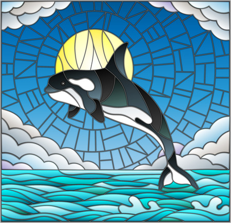 Illustration in stained glass style with a whale on the background of water ,cloud, sky and sun